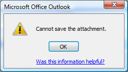 Error prompt in Outlook