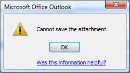 Error prompt in Outlook