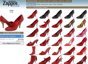 63f1574f23a Again Zappos lead the way with their Zappos Product Explore – click on a  product you like such as a Red Stiletto