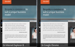 Internet Explorer 8 compared to Google Chrome