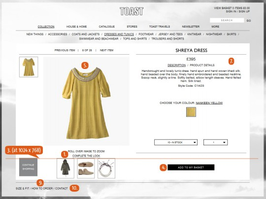 Example of a product page