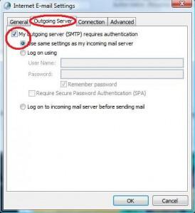 Select Outgoing Server