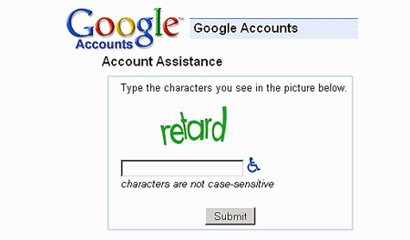 Google 'retard' captcha