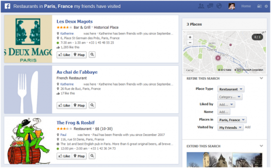 social graph business search results