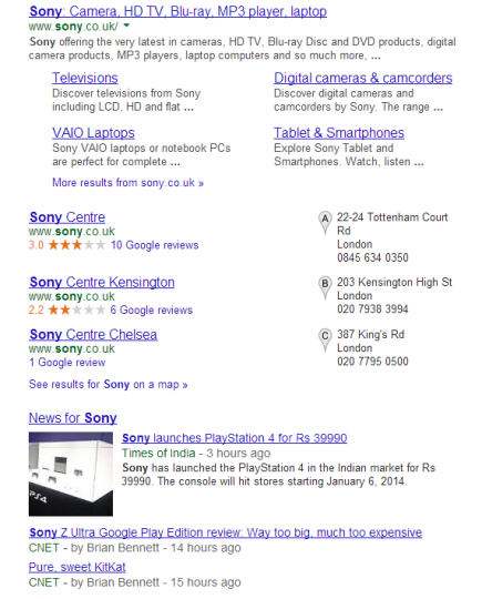 Sony example - Majestic SEO