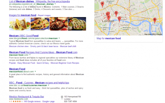 Mexican food local google search