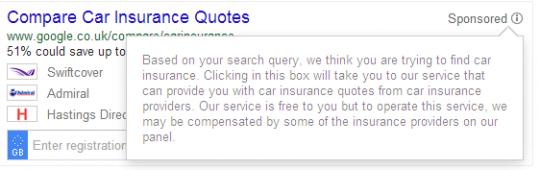Google's comparison search, Sponsored Message