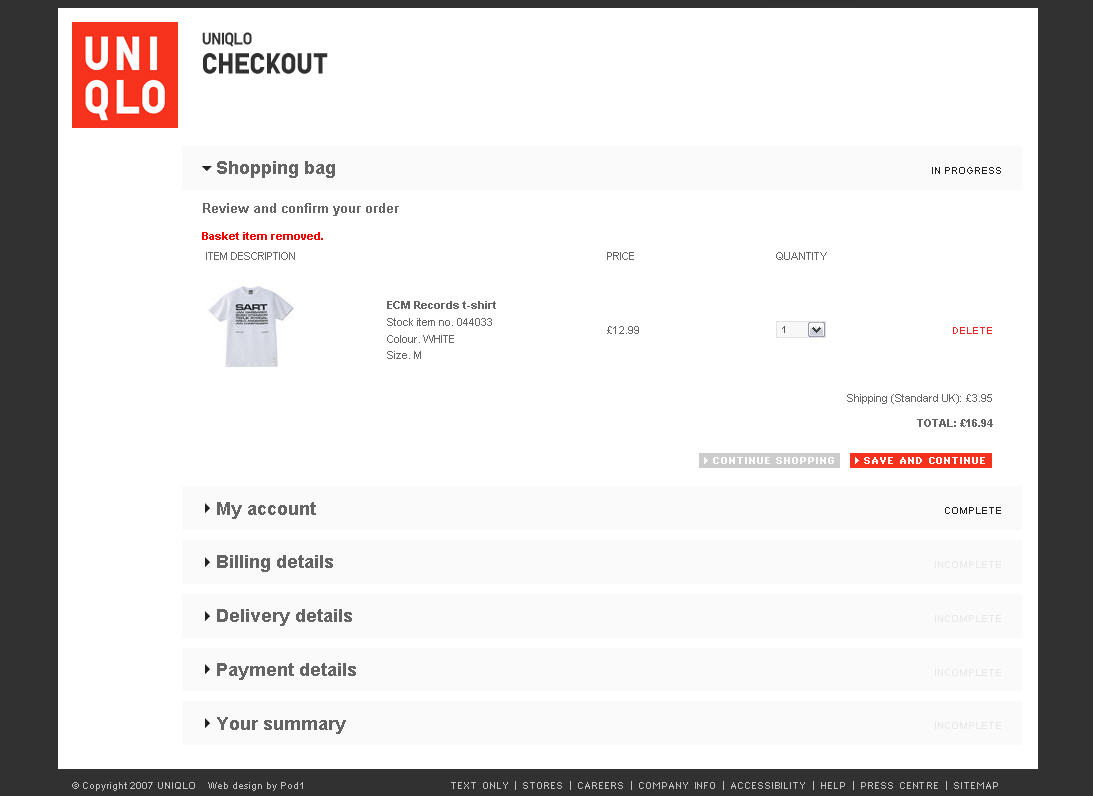 UniqloSinglePageCheckoutScreenShot