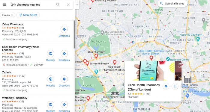 Google Maps Local Pharmacy