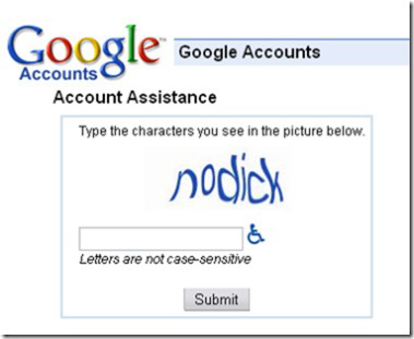 'no dick' google captcha